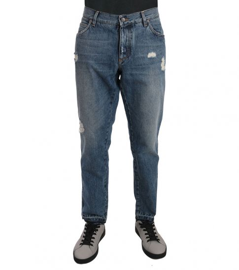 Dolce & Gabbana Blue Classic Ripped Jeans