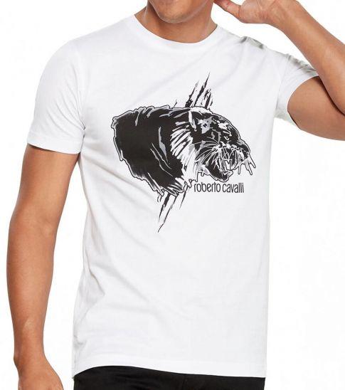 Roberto Cavalli White Graphic Logo Print T-Shirt