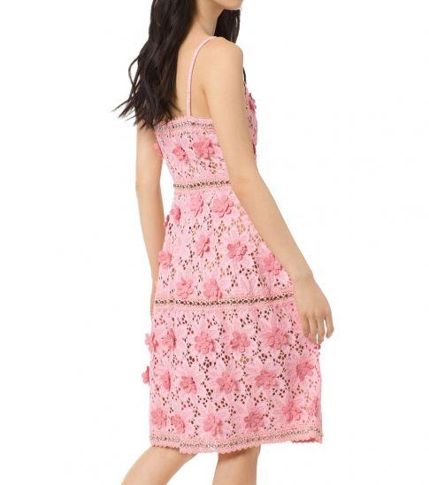 Michael Kors Light Pink Floral Applique Lace Dress