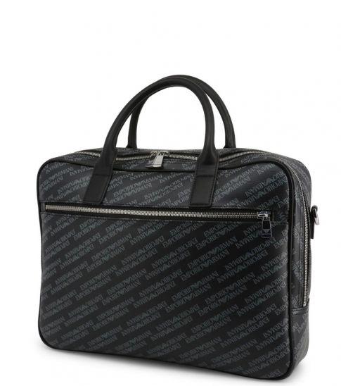Emporio Armani Black Signature Large Briefcase Bag