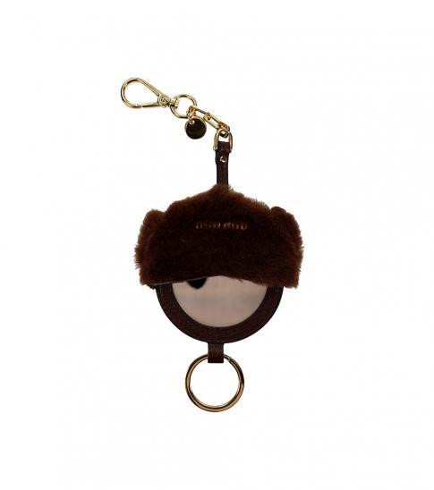 Miu Miu Brown Mirror Detail Key Holder