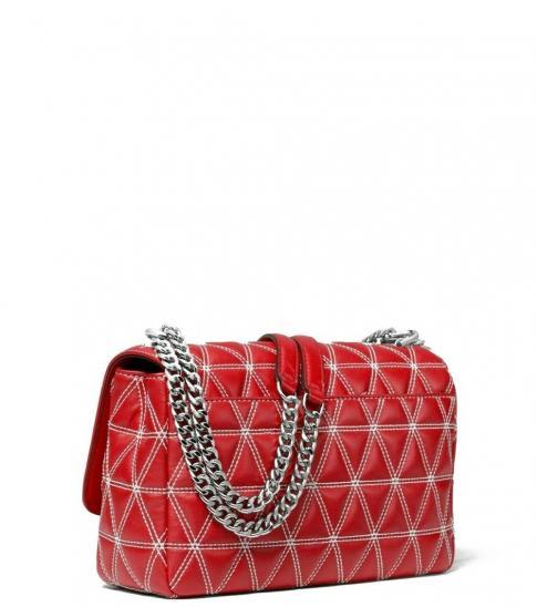Michael Kors Red Sloan Quilted Medium Shoulder Bag