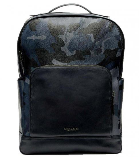 Coach Blue Graham Camo Large Backpack