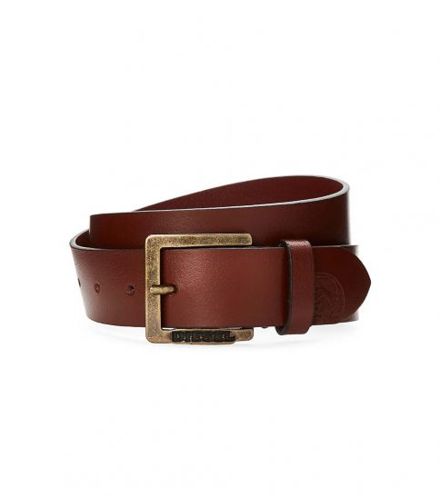 Diesel Rustic Brown Logo-Accent Leather Belt
