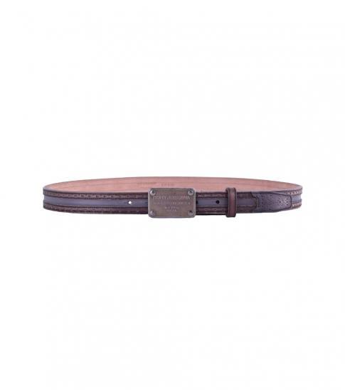 Dolce & Gabbana Brown Black Logo Belt