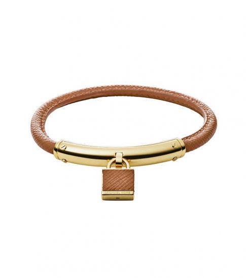 Michael Kors Brown Padlock Saffiano Bracelet