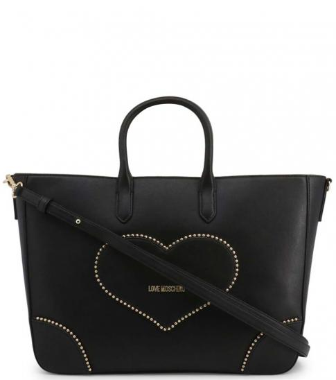 Love Moschino Black Studded Heart Large Satchel