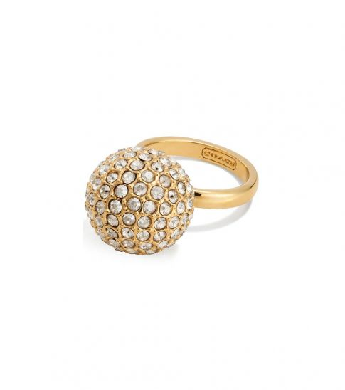 Coach Gold Pave Ball Ring