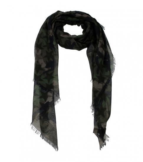 Valentino Garavani Camouflage Green Fabric Scarf
