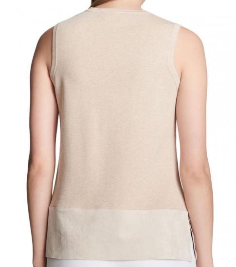 Calvin Klein Heather Latte Heathered Sleeveless Sweater