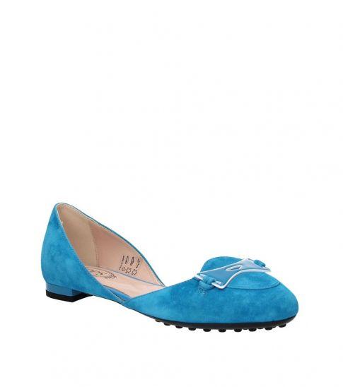 Tod's Light Blue Front Logo Ballet Flats