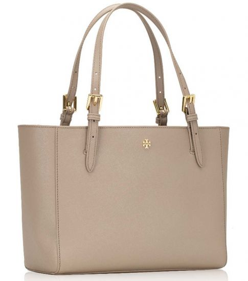 Tory Burch Grey Emerson Small Buckle Large Tote