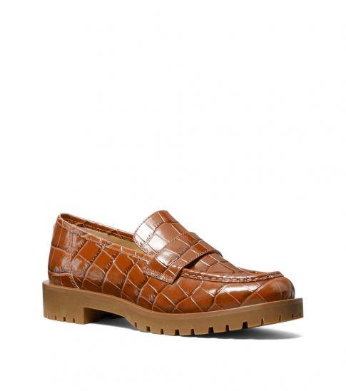 Michael Kors Chestnut Holland Croc Print Loafers