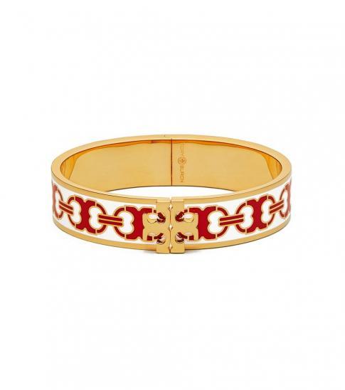 Tory Burch New Ivory-Red Enamel Logo Bracelet