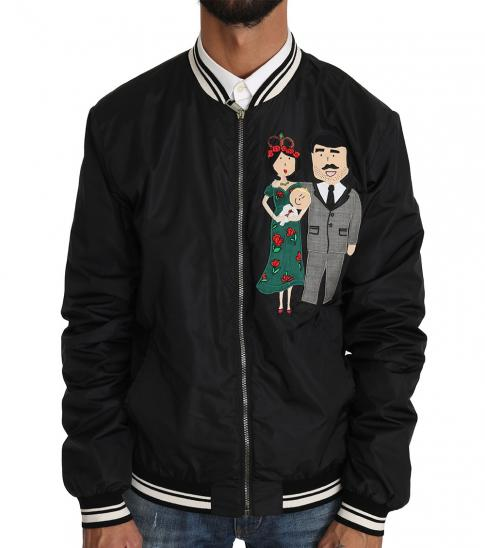 Dolce & Gabbana Black Applique Bomber Jacket