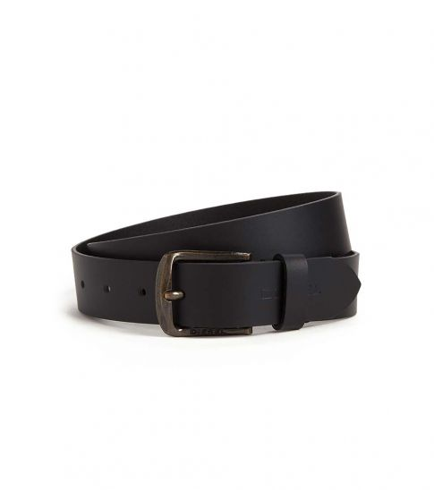Diesel Black Classic Stamped Leather Belt