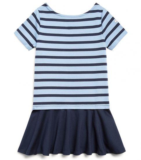 Ralph Lauren Little Girls Navy/Blue Striped Ponte Dress