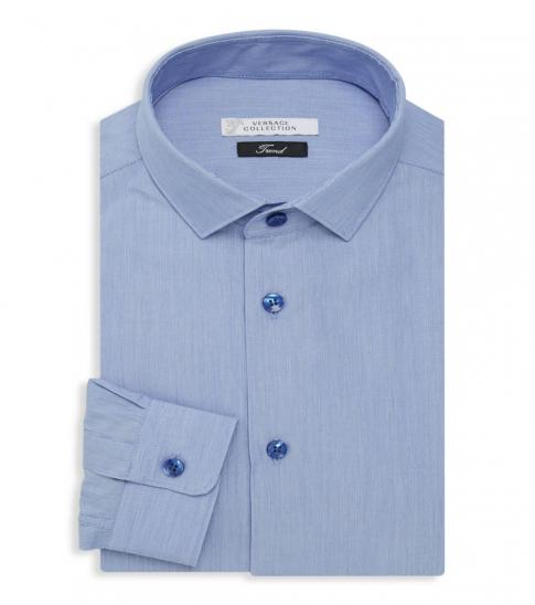 Versace Collection Blue Logo Embroidered Shirt