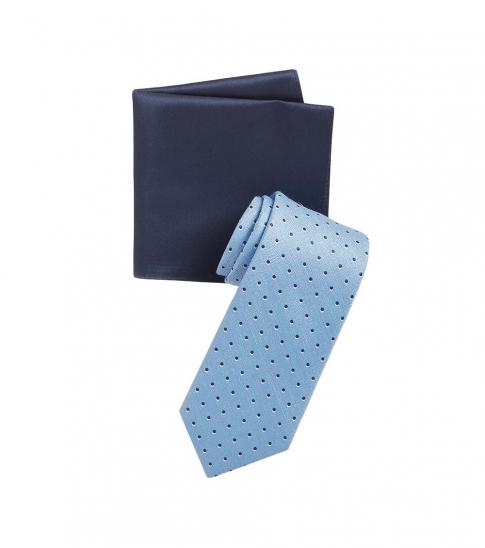 Michael Kors Light Blue Business Dot Overlay Tie & Pocket Square Set