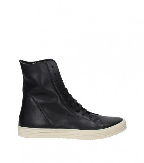 Rick Owens Black Leather High Sneakers