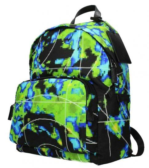 Prada Black Graphic Zip Large Backpack