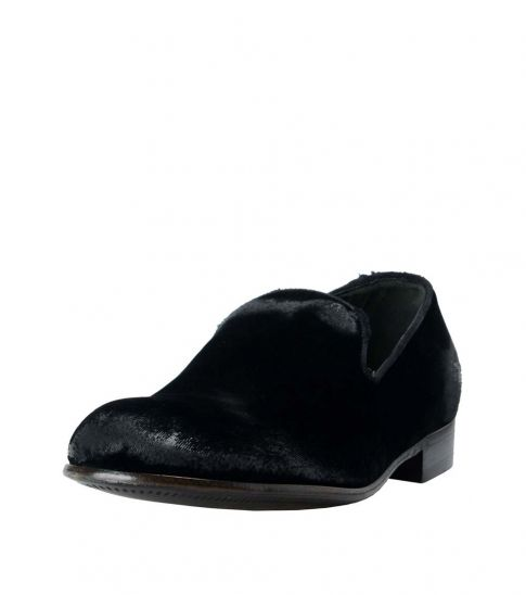 Dolce & Gabbana Black Velour Leather Loafers