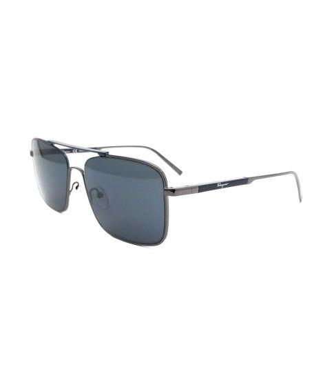 Salvatore Ferragamo Shiny Dark Metal Navigator Sunglasses