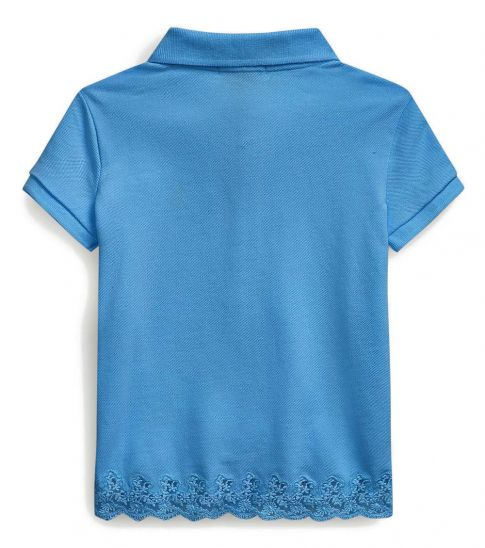 Ralph Lauren Little Girls Blue Lace-Hem Polo