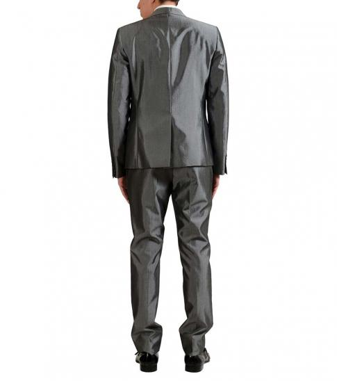 Just Cavalli Silver Wool Two Button Suit