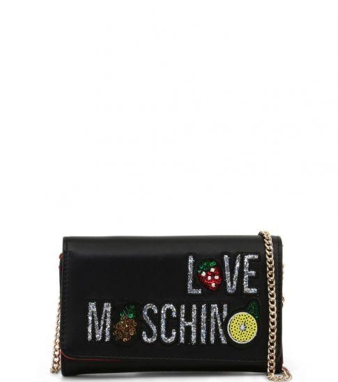 Love Moschino Black Fruits Logo Mini Shoulder Bag