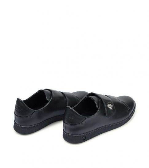 Versace Collection Black Logo Strap Sneakers