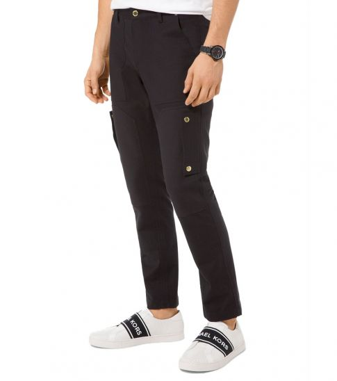 Michael Kors Black Stretch-Cotton Cargo Pants