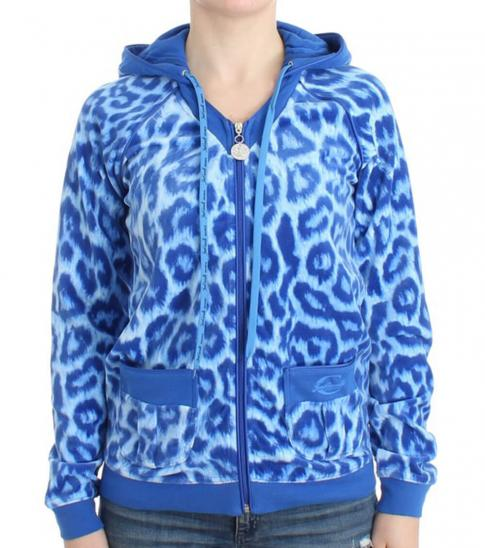 Just Cavalli Blue Leopard Print Jacket