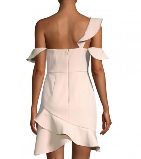 BCBGMaxazria Light Pink Asymmetric Ruffled Mini Dress