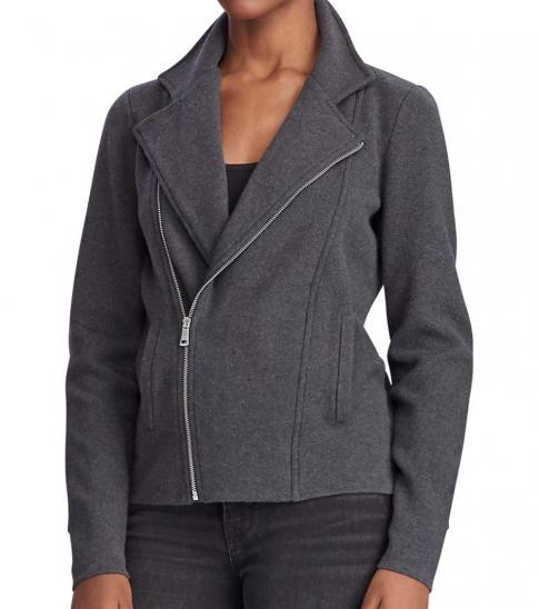 Ralph Lauren Dark Grey Cotton-Blend Moto Jacket