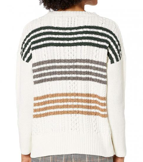 BCBGMaxazria Off White Long Sleeve Pullover Sweater