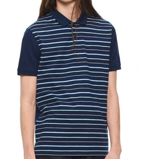 Calvin Klein Atlantis Paneled-Stripe Polo