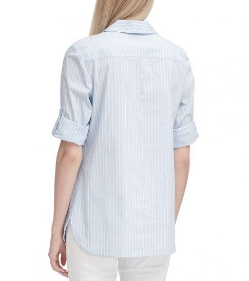 Calvin Klein CashmereWhite Striped Lace-Up Top