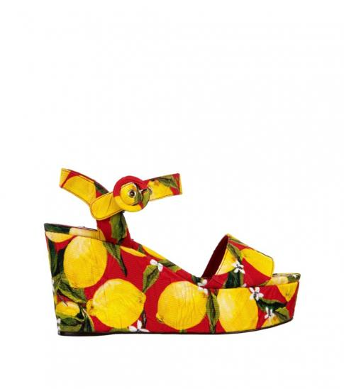 Dolce & Gabbana Lemon Printed Wedges