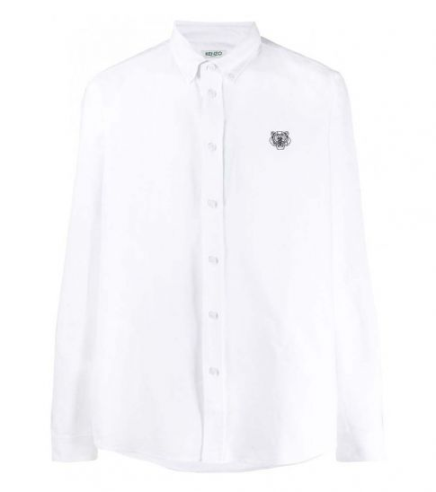 Kenzo White Cotton Tiger Embroidered Shirt