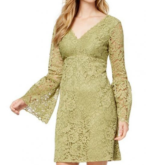 Betsey Johnson Olive Lace V-Neck Bell Sleeve Dress