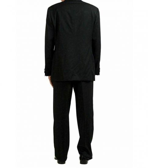 Armani Collezioni Black Solid Classic Fit Wool Suit