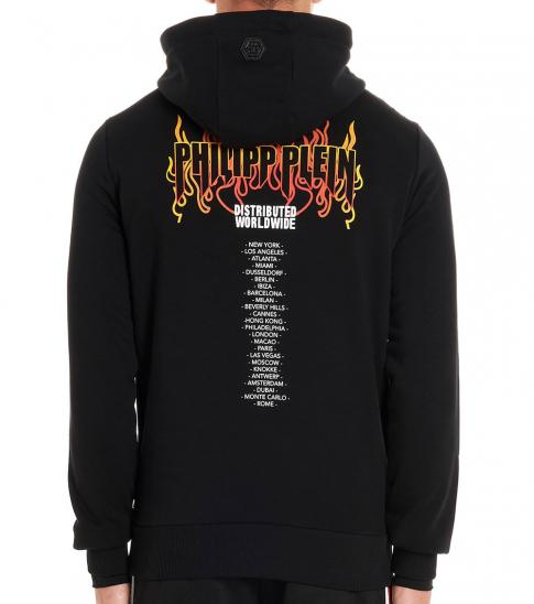 Philipp Plein Black Flame Graphic Hoodie