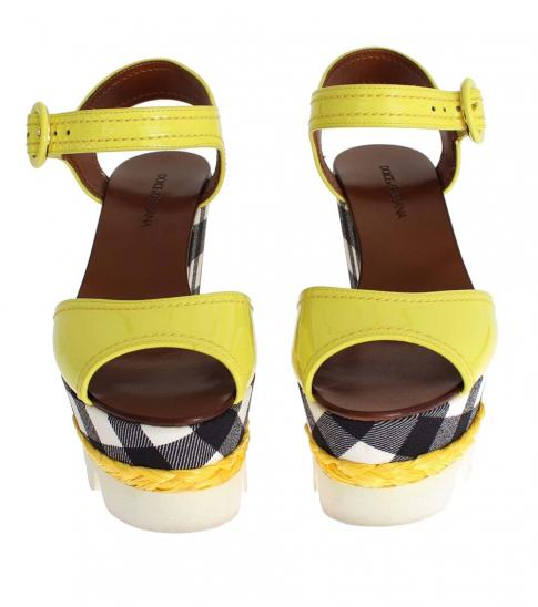 Dolce & Gabbana Yellow Leather Check Wedges