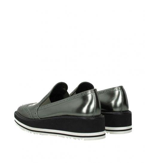 Prada Grey Metallic Wingtip Loafers