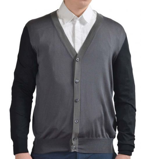 Prada Dark Grey Silk Button Down Cardigan