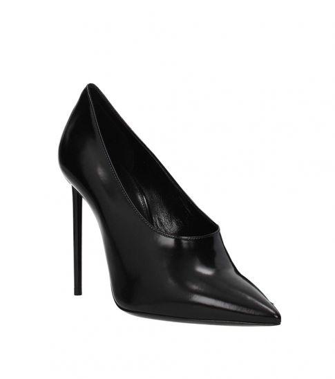Saint Laurent Black Leather Stiletto Heels