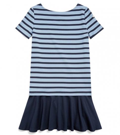 Ralph Lauren Girls Blue Striped Stretch Ponte Dress