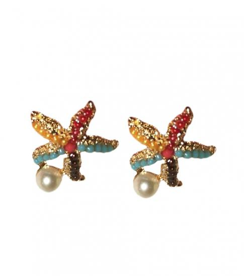 Betsey Johnson Multi color Abstract Starfish Earrings