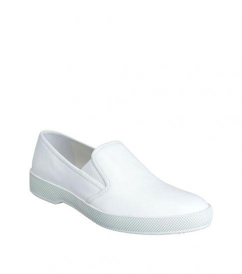 Prada White Leather Loafers